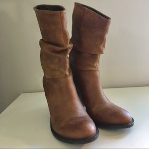 Steve Madden mid-calf leather boots. Cognac color